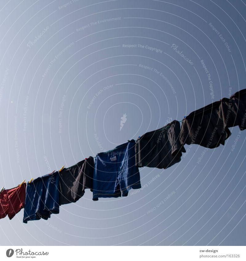 Friday is washing day Clothing T-shirt Shorts Men's underpants Clothesline Laundry Sky Washing day Underpants Underwear Household Summer summer-fresh nicki