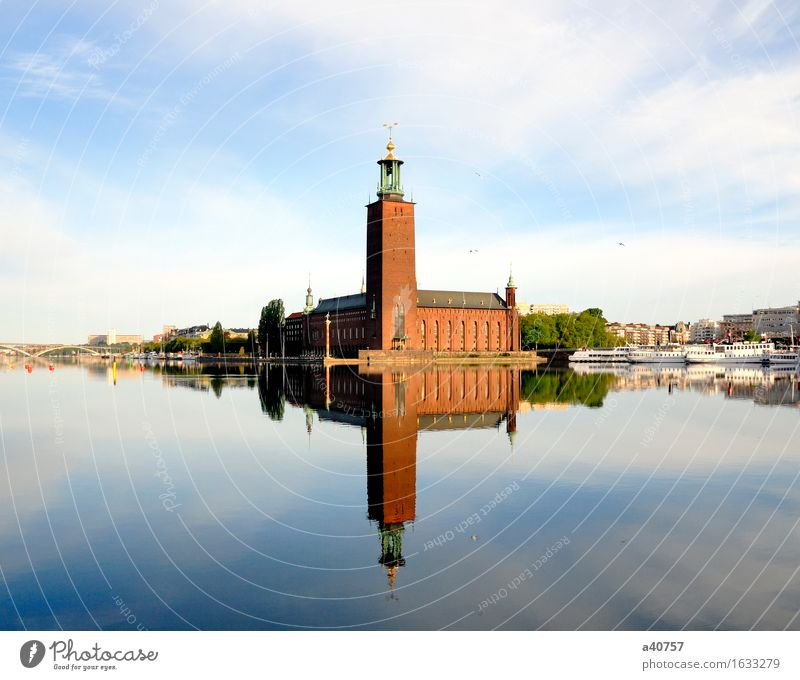 Stockholm City Hall with reflection on water Sweden Reflection Town Summer City hall Stadshuset Water City life Built Water Surface Clock tower Lake Nordic