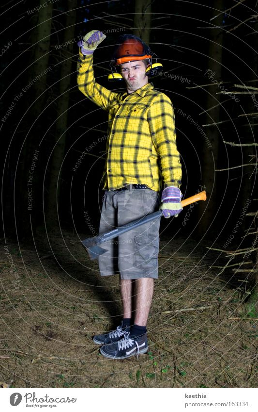 Man Nature Tree Yellow Forest Dark Work and employment Funny Adults Crazy Profession Tool Freak Helmet Absurdity Gloves