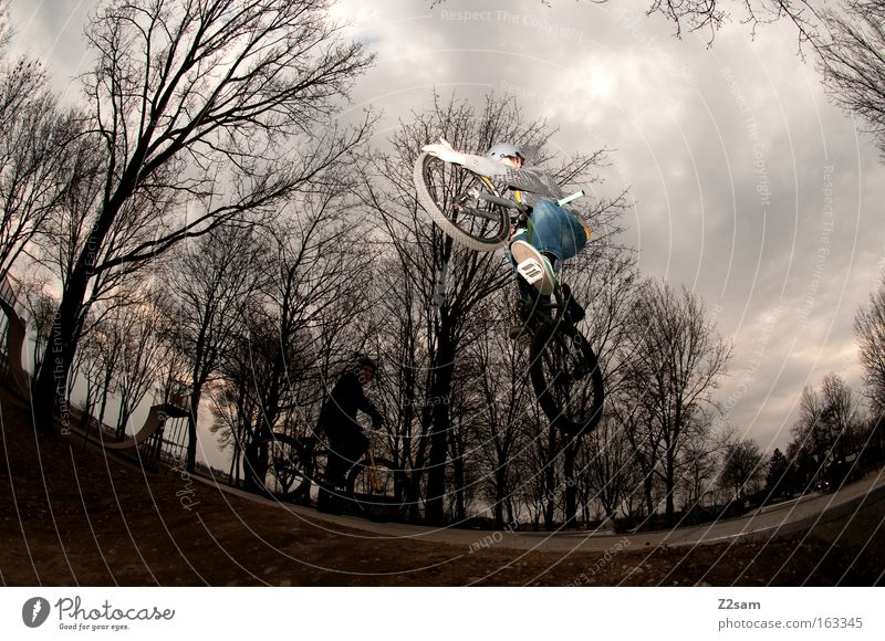 Man Dark Style Sports Jump Park Action Bicycle Dangerous Threat Cool (slang) Funsport Air
