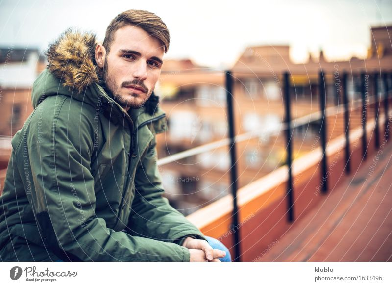 Handsome caucasian young man Man City Beautiful White Face Adults Environment Style Lifestyle Happy Leisure and hobbies Copy Space Modern Creativity Smiling Academic studies