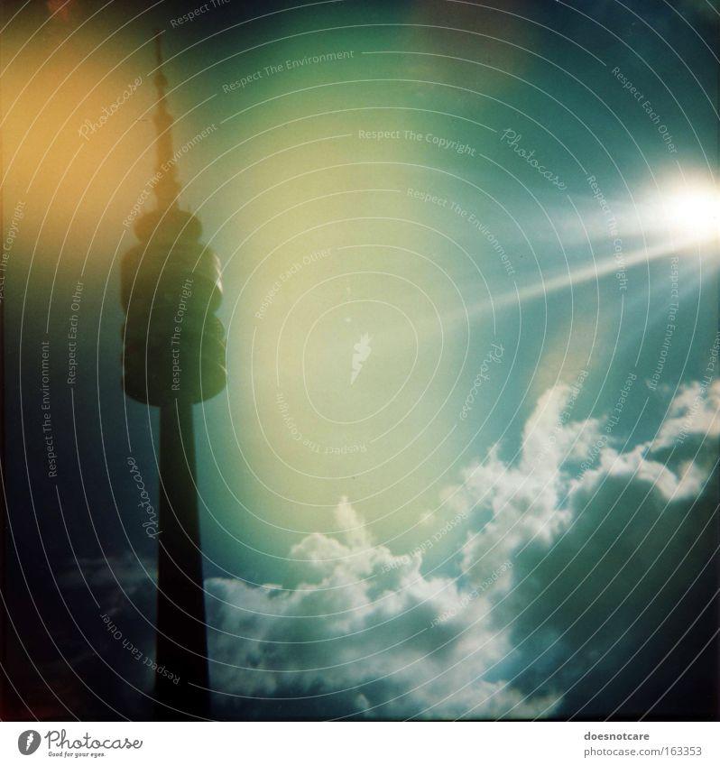 Sky Sun Green Blue Clouds Yellow Architecture Telecommunications Tower Munich Lomography Illuminate Radiation Bavaria Antenna Television tower