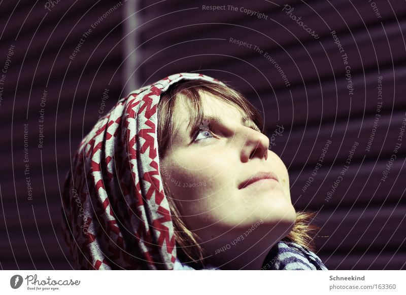 Woman Beautiful Face Dark Cold Wall (building) Above Moon Hooded (clothing) Dazzle Celestial bodies and the universe Human being Moonstruck