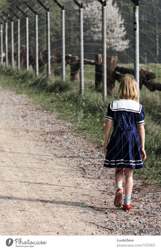 Walk The Line Fear Loneliness Girl Fence Shadow Sadness Feeble Grief Distress Child sailor dress