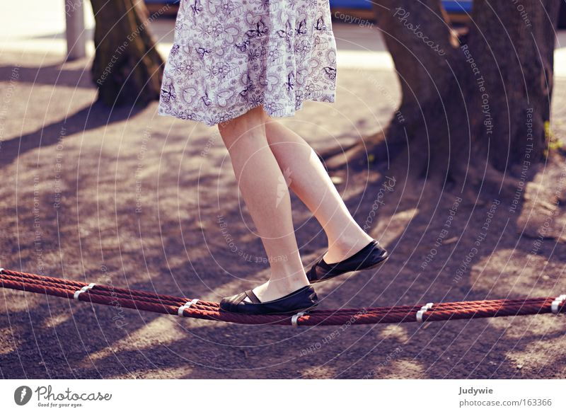 the tightrope walker Colour photo Subdued colour Exterior shot Day Joy Contentment Playing Summer Dance Child Girl Youth (Young adults) Ballet Circus Spring