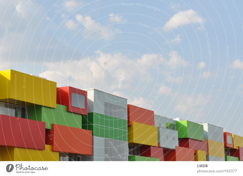 Building block house Brick Toy building bricks Living or residing House (Residential Structure) Town Habitat Multicoloured Sky Beautiful weather Modern