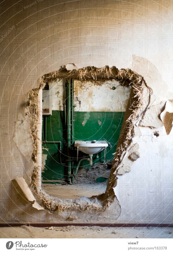 abbreviation Room Bathroom Wall (barrier) Wall (building) Old Authentic Simple Broken Rebellious Brown Green Decline Vista Breach Hollow Damage Sink Obscure