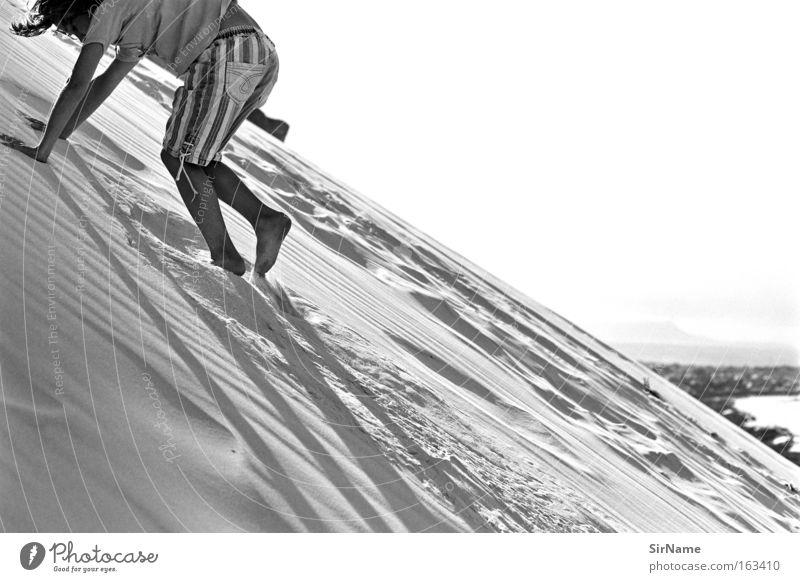 79 [dune climbing] Joy Playing Vacation & Travel Far-off places Beach Ocean Climbing Mountaineering Child Boy (child) Sand Touch Movement Crawl Beach dune Dune