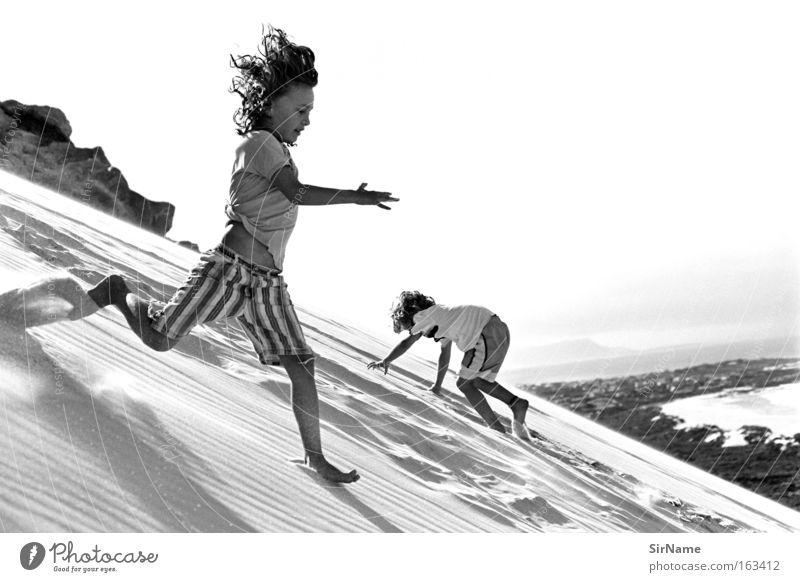 81 [seven mile increments] Playing Vacation & Travel Beach Climbing Mountaineering Child Boy (child) Sand Coast Running Running sports Depart Beach dune Dune