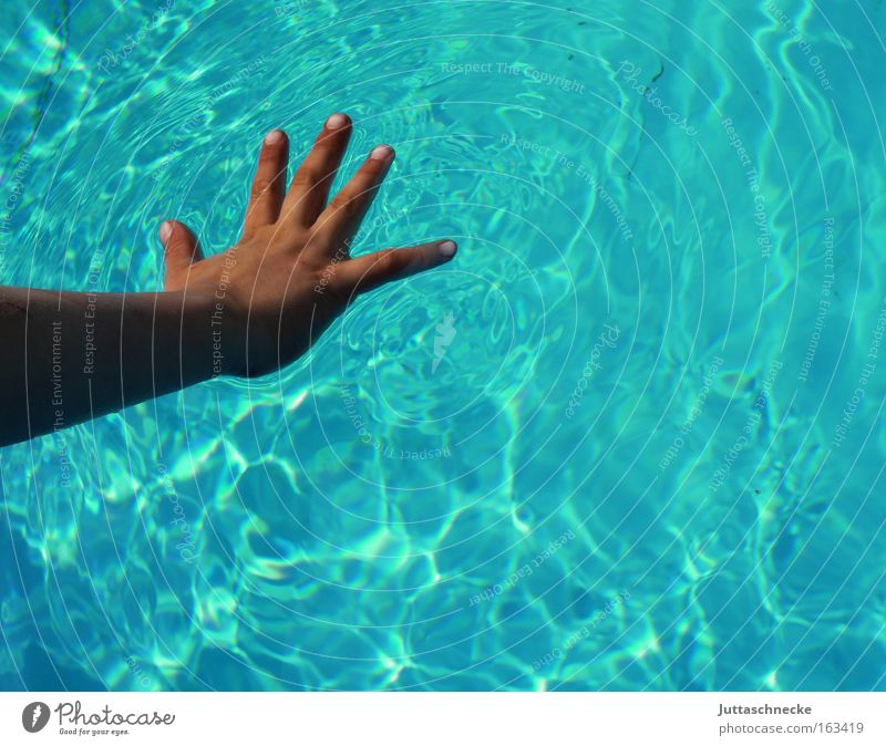 Hand Water Wet Fingers Swimming pool Peace Trust Touch 5 Turquoise Smooth Splay Children`s hand