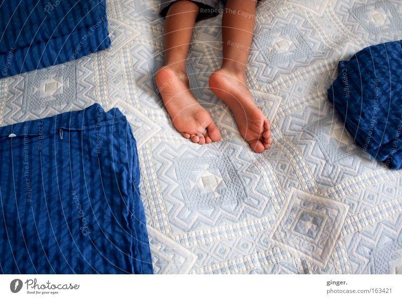 Human being Child Blue White Dark Boy (child) Legs Bright Feet Lie Room Masculine Sleep Bedclothes Division Fatigue