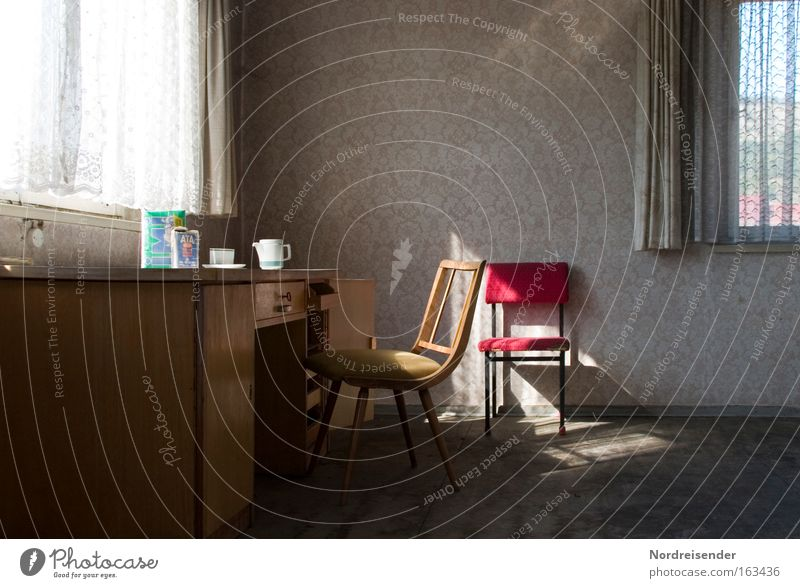 breakfast Coffee Cup Lifestyle Sun Flat (apartment) Desk Chair Wallpaper Room Office SME Window Old Living or residing Poverty Gloomy Loneliness Crisis