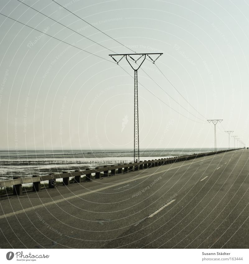 Roman dam I Rømø Crossing Electricity Electricity pylon Telegraph pole Street Road traffic Transport Signs and labeling Tracks Speed Denmark Driving Concrete