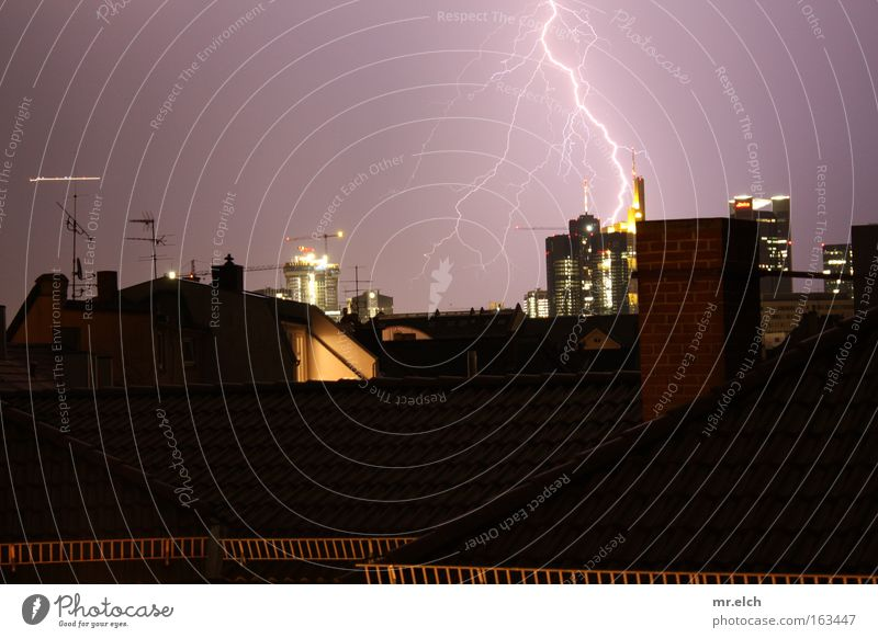 Electrification of the Maintower Lightning Thunder Electricity Roof Frankfurt Bank building High-rise Thunder and lightning Storm Airplane Night Threat