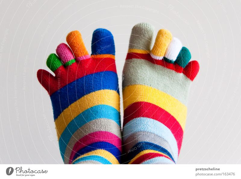 toe socks Stockings Toes Tip of the toe Stripe Striped Foundations Multicoloured Clothing Colour Leisure and hobbies Feet Parts of body Legs Movement