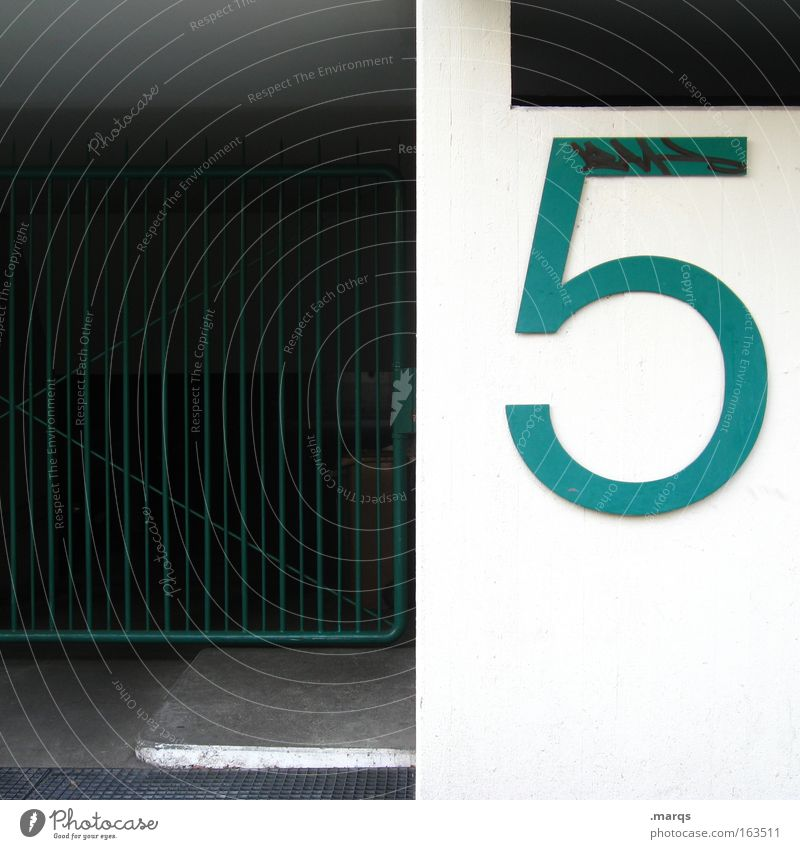 5 Colour photo Exterior shot Copy Space left Day Building Facade Concrete Digits and numbers Living or residing Town Green White Grating House number Entrance