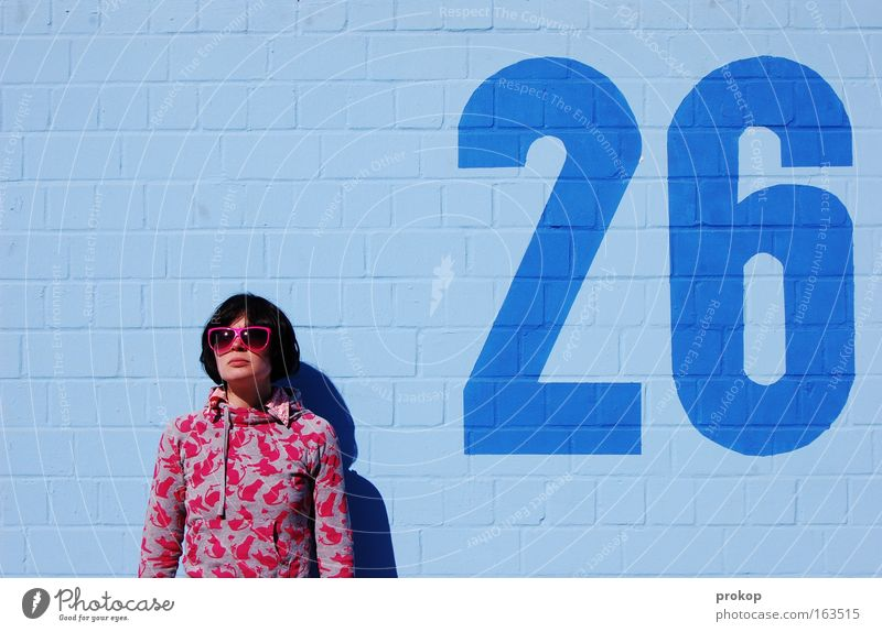 Woman Human being Youth (Young adults) Blue Beautiful Joy Summer Adults Feminine Wall (building) Style Wall (barrier) Fashion Funny Pink Free
