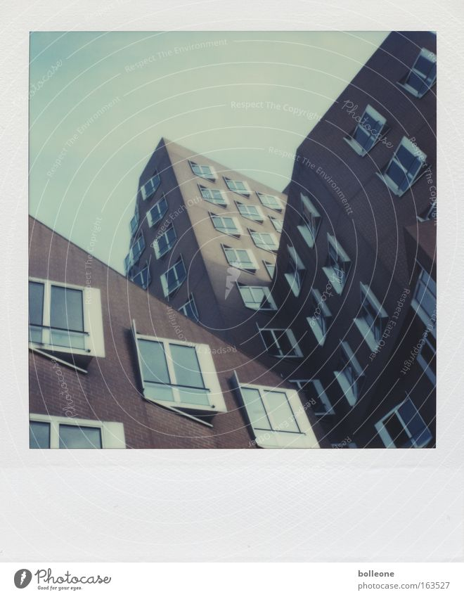 Gehry's already a weirdo. Subdued colour Exterior shot Polaroid Deserted Copy Space top Day Shadow Silhouette Duesseldorf Germany Skyline