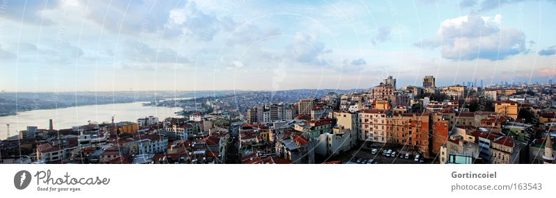Colourful view Sky Clouds Beautiful weather Ocean Istanbul Turkey Europe Town Downtown House (Residential Structure) High-rise Harbour Building