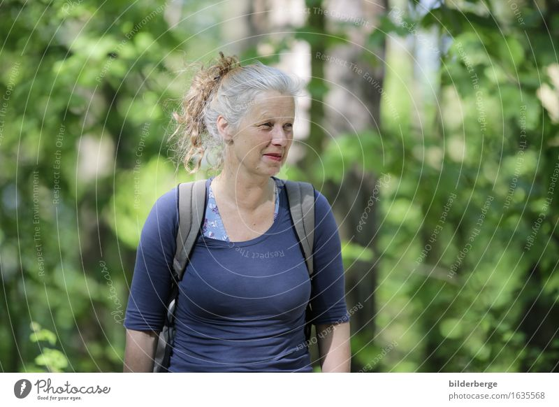 Woman in the forest Lifestyle Vacation & Travel Tourism Trip Adventure Feminine Adults Nature Landscape Tree Outskirts Hair and hairstyles Brunette Gray-haired