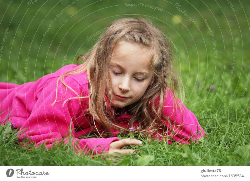 Girl day dreaming || Playing Garden Feminine Infancy 1 Human being 3 - 8 years Child 8 - 13 years Blonde Long-haired To enjoy Smiling Dream Happy Beautiful Pink