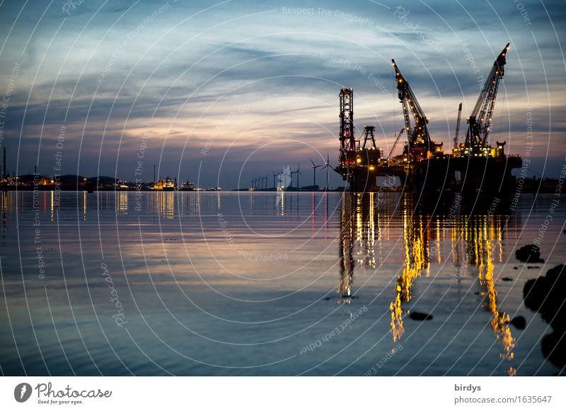 Port of loading Hoek van Holland Workplace Industry Logistics Energy industry Technology Wind energy plant Crane Water Night sky Coast River bank North Sea