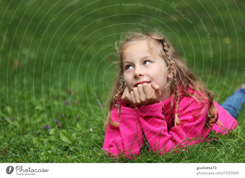 Girl day dreaming     Feminine Child Infancy 1 Human being 3 - 8 years 8 - 13 years Observe Think Smiling Dream Happy Beautiful Pink Optimism Infatuation