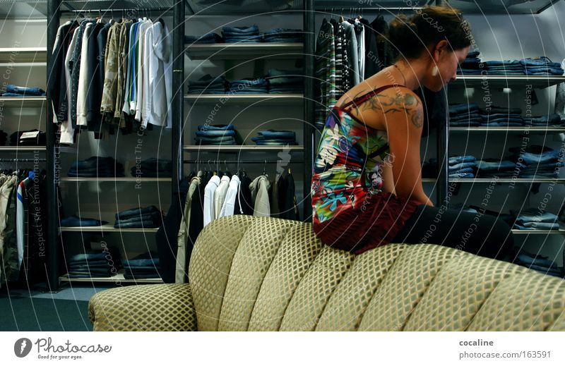 financial crisis Colour photo Interior shot Day Artificial light Central perspective Full-length Store premises Trade Unemployment Feminine Young woman