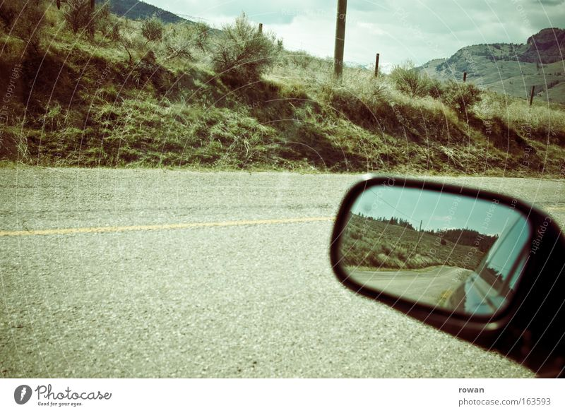 road movie Colour photo Subdued colour Exterior shot Deserted Copy Space bottom Copy Space middle Day Reflection Transport Motoring Street Car Wanderlust