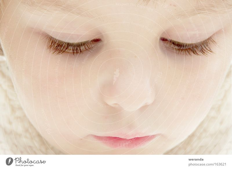 Sunken girl Colour photo Subdued colour Close-up Detail Light High-key Portrait photograph Looking Face Child Girl Eyes Mouth 1 Human being Think Dream Bright