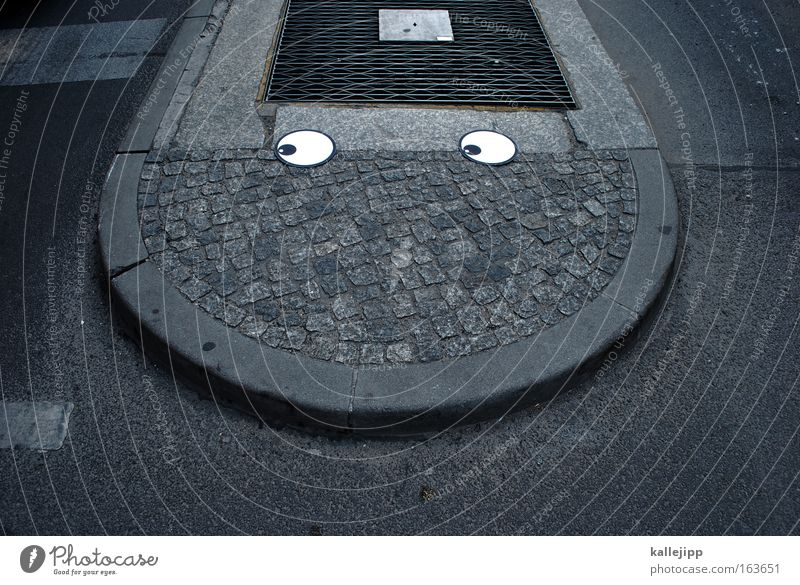 keep on smiling Colour photo Exterior shot Deserted Shadow Looking away Androgynous Head Eyes Mouth Street Crossroads Road junction Stone Concrete Road sign
