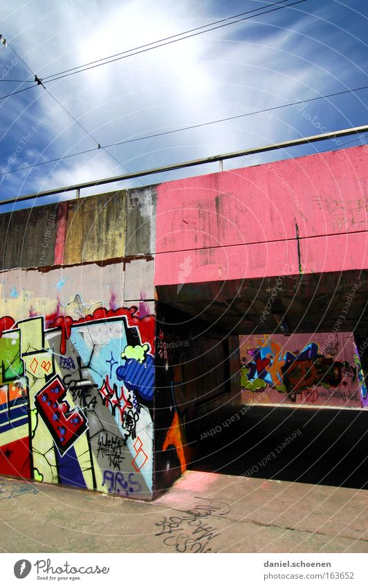 Sky Colour Graffiti Art Concrete Tunnel