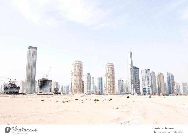 downtown Dubai Town Skyline City High-rise surreal Sand Flat (apartment) Arabia Growth light heat Sun