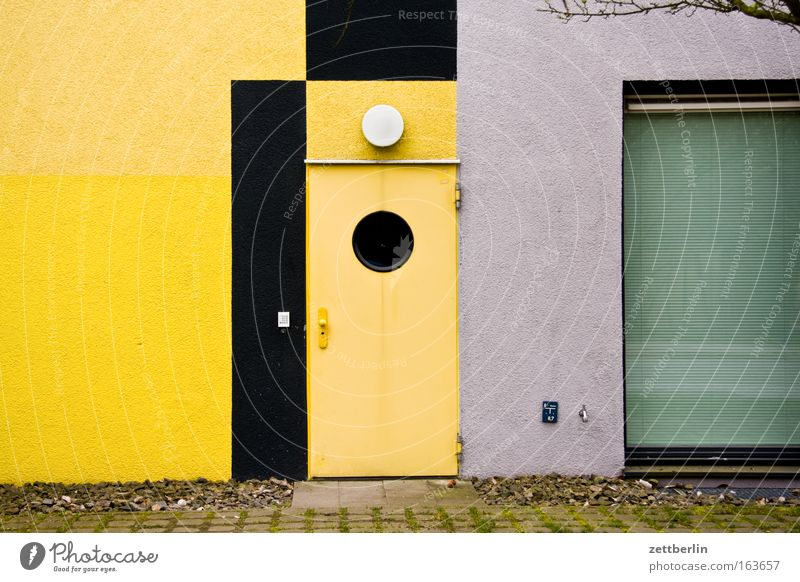 Green House (Residential Structure) Yellow Window Gray Stone Building Architecture Glass Door Facade Living or residing Manmade structures Industrial plant