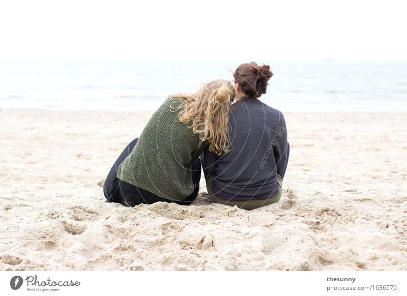 rest for two Feminine Girl Young woman Youth (Young adults) Woman Adults Head Hair and hairstyles 2 Human being Sand Water Waves Coast Ocean Think Dream