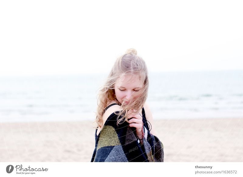 rest in oneself Feminine Girl Young woman Youth (Young adults) Woman Adults 1 Human being Sand Water Waves Ocean Smiling Wind Curl Blonde Chignon Contentment