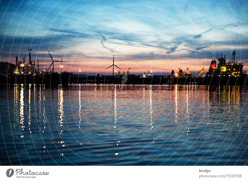 Port scenery Hoek van Holland Work and employment Industry Logistics Services Energy industry Technology Wind energy plant Night sky Sunrise Sunset Coast