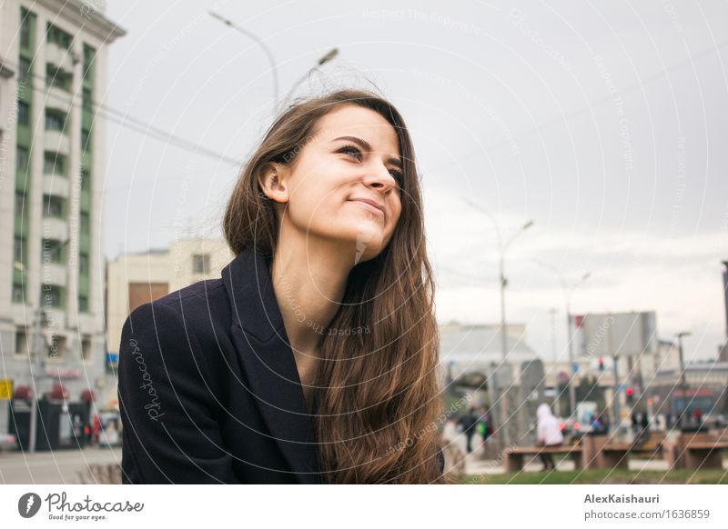 Beautiful business woman in park is looking forward and smiling Lifestyle Elegant Style Joy Business SME Career Success Young woman Youth (Young adults) 1