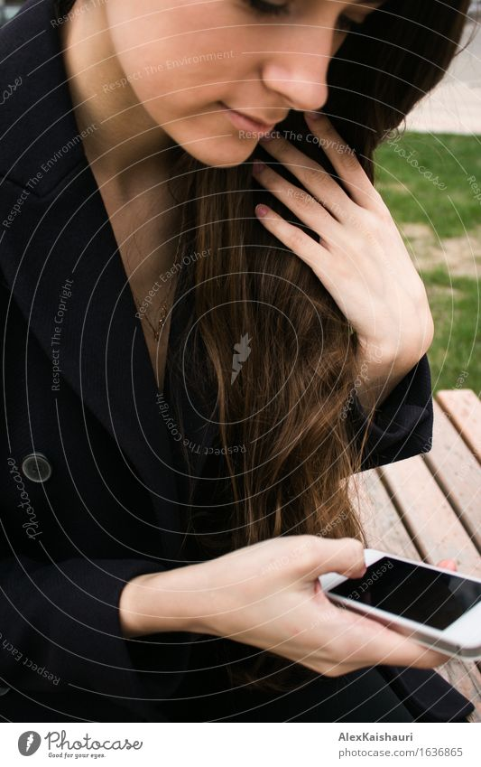 Beautiful business woman in park with mobile phone Human being Youth (Young adults) City Beautiful Summer Young woman To talk Spring Style Lifestyle Business Park Elegant Success Friendliness Team