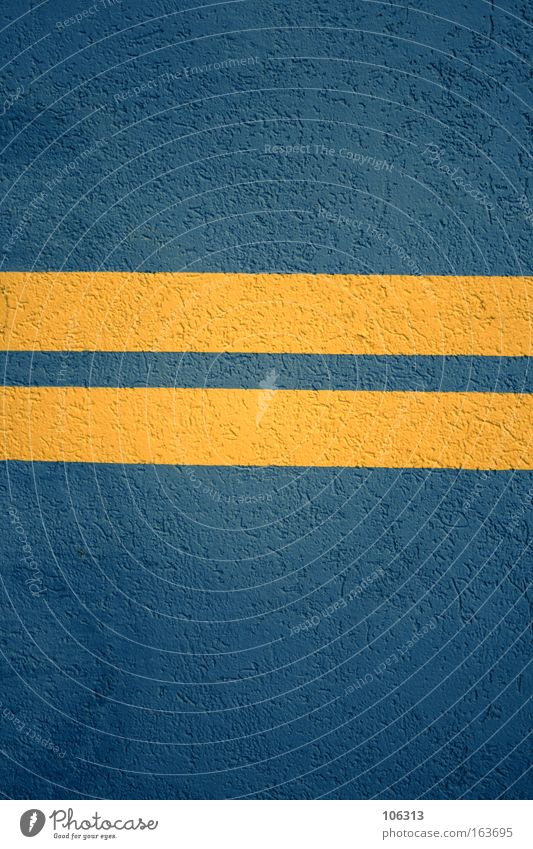 Blue Yellow Colour Wall (building) Line Signs and labeling Concrete Stripe Highway Symbols and metaphors Geometry Harmonious Sweden Plaster