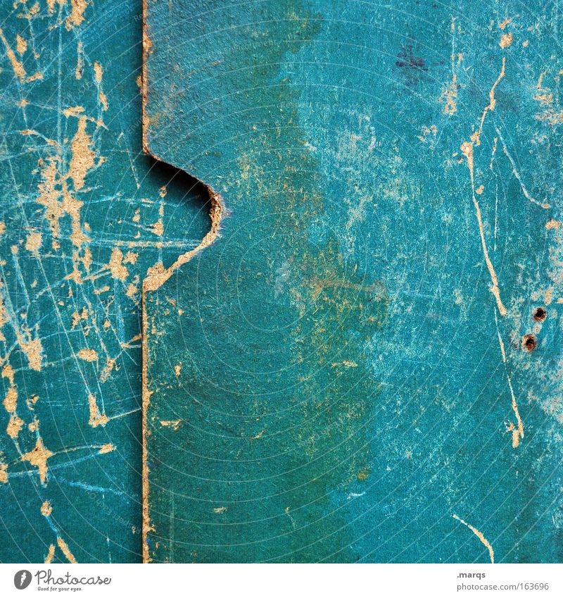 pitted Wood Old Dirty Green Scratch Scratch mark Structures and shapes Broken Surface structure Turquoise Weathered Might Damp Colour photo Exterior shot