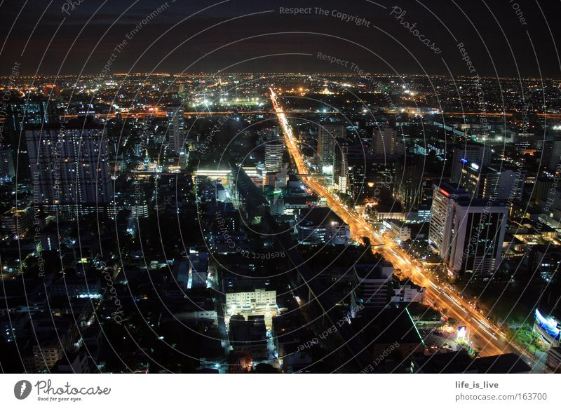 In the ecstasy of the night Colour photo Deserted Copy Space top Night Long exposure Panorama (View) Vacation & Travel Far-off places Night life Bangkok