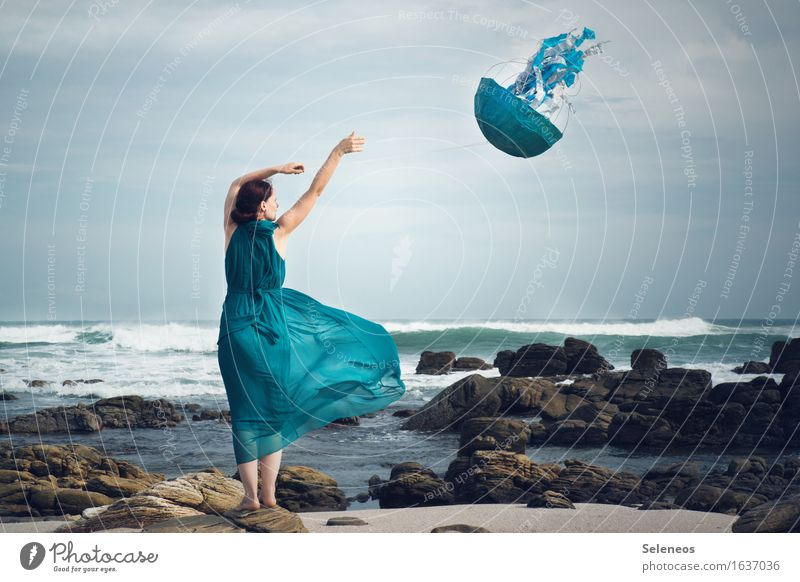 wind chimes Adventure Far-off places Freedom Human being Feminine Woman Adults 1 Environment Nature Sky Horizon Wind Gale Waves coast Beach Ocean Dress Flying