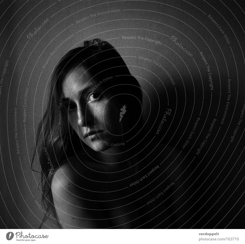 ? Black & white photo Interior shot Day Light Shadow Contrast Portrait photograph Upper body Looking Looking into the camera Human being Feminine Young woman