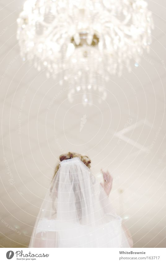 Light for the bride Subdued colour Interior shot Copy Space middle Artificial light Shallow depth of field Wedding Feminine Head Hair and hairstyles Back 1