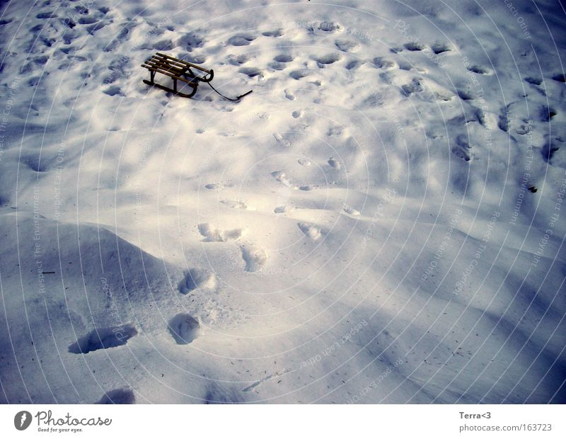 Winter wonderland Colour photo Exterior shot Deserted Copy Space left Dawn Twilight Light Shadow Contrast Snow Winter vacation Sleigh Beautiful weather Ice