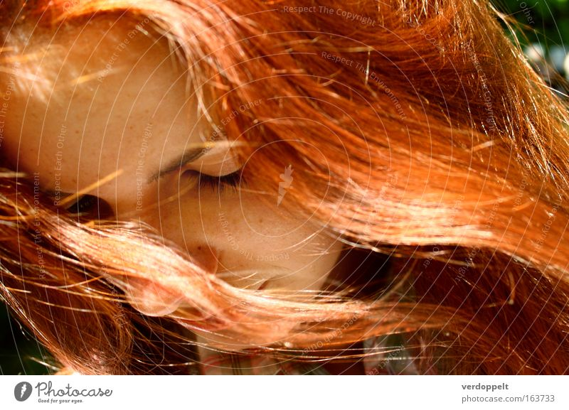 ~~~ Woman Human being Youth (Young adults) Beautiful Sun Red Summer Face Life Feminine Emotions Hair and hairstyles Head Bright Moody
