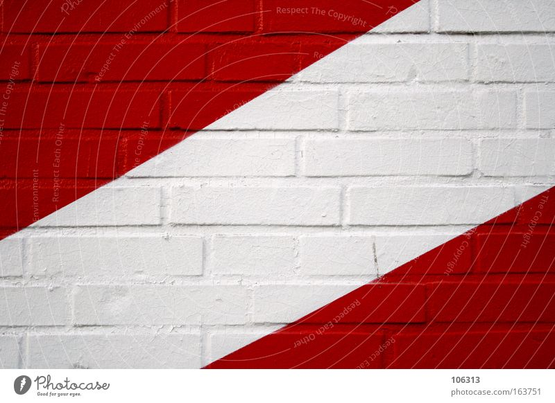 Photo number 117071 White Red Wall (building) Line Diagonal Brick Progress Graphic Triangle Corner Classification Colour Dye Painted Detail Section of image