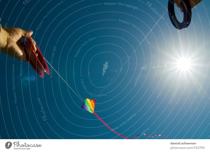 Sky Blue Sun Summer Joy Colour Weather Wind Aviation Kite Kiting Surfing Celestial bodies and the universe Toys
