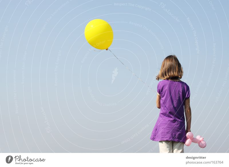 untroubled Colour photo Exterior shot Copy Space left Copy Space bottom Neutral Background Day Deep depth of field Rear view Looking away Girl Infancy 1